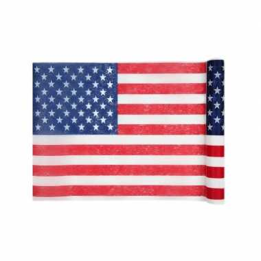 2x amerikaanse vlag/usa thema tafellopers op rol 500 cm kopen