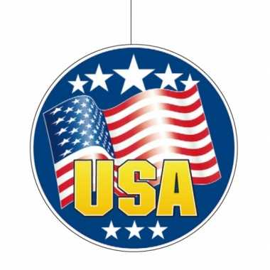 2x stuks usa/amerikaanse vlag hangdecoratie 28 cm van karton kopen
