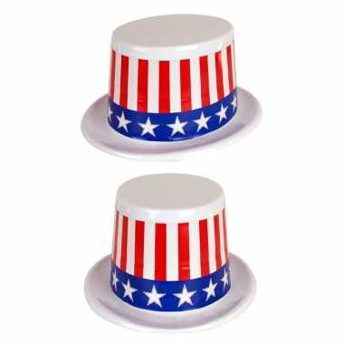 4x stuks plastic usa amerikaanse thema hoed met stars and stripes kopen