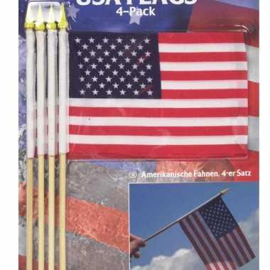 8x amerikaanse/usa zwaaivlaggetjes/handvlaggetjes kopen