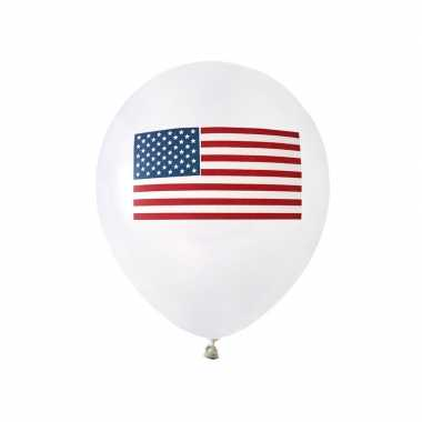 8x witte ballonnen met amerikaanse vlag/usa thema 23 cm kopen