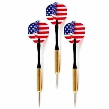 9x stuks dartpijlen/pijltjes met amerikaanse/usa vlag flights kopen