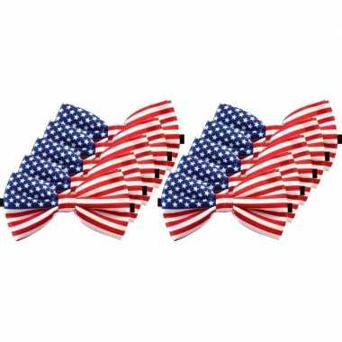 Amerikaanse 10x amerika verkleed vlinderstrikjes 12 cm voor dames/her