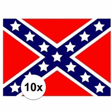 Amerikaanse 10x stuks vlag usa rebel stickers kopen