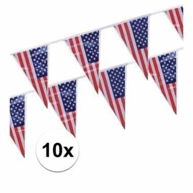 Amerikaanse 10x stuks vlaggenlijnen amerika/usa kopen