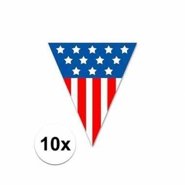 Amerikaanse 10x vlaggenlijn/vlaggetjes usa 5 meter kopen
