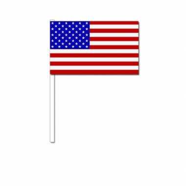 Amerikaanse 150x stuks zwaaivlaggetjes amerika/usa 12 x 24 cm kopen