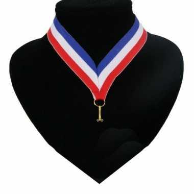 Amerikaanse 20x stuks halslint lanyard holland vlag kleuren rood-wit-blauw kopen