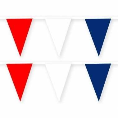 Amerikaanse 2x amerika/usa stoffen vlaggenlijnen/slingers 10 meter ka
