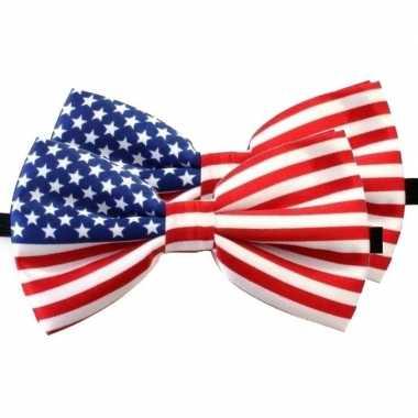 Amerikaanse 2x amerika verkleed vlinderstrikjes 12 cm voor dames/here