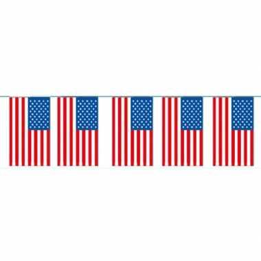 Amerikaanse 2x papieren slinger usa / amerika 4 meter landen decorati