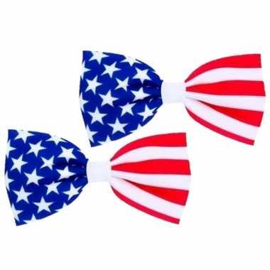 Amerikaanse 2x stuks usa /amerikaans verkleed vlinder strikje 16.5 cm kopen