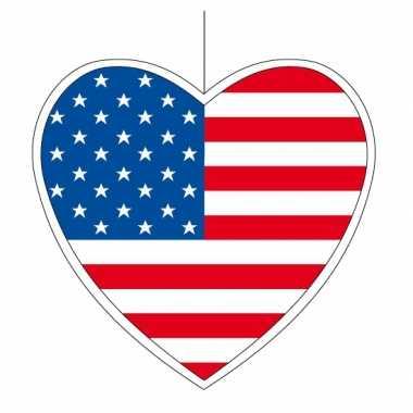 Amerikaanse 3x amerika hangdecoratie harten 14 cm kopen