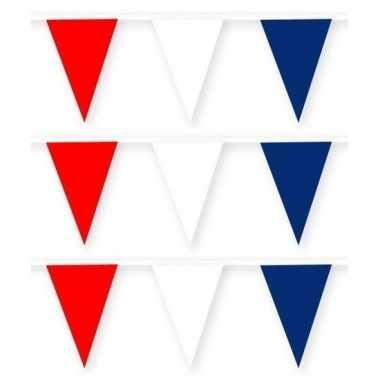 Amerikaanse 3x amerika/usa stoffen vlaggenlijnen/slingers 10 meter ka
