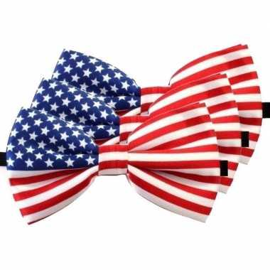 Amerikaanse 3x amerika verkleed vlinderstrikjes 12 cm voor dames/here