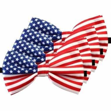 Amerikaanse 4x amerika verkleed vlinderstrikjes 12 cm voor dames/here