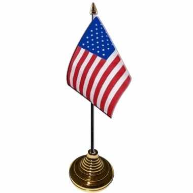 Amerikaanse 4x stuks tafelvlaggetjes usa/amerika op voet van 10 x 15 cm kopen