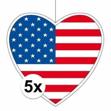 Amerikaanse 5x amerika hangdecoratie harten 28 cm kopen