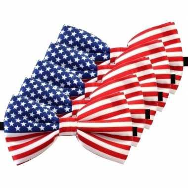 Amerikaanse 5x amerika verkleed vlinderstrikjes 12 cm voor dames/here