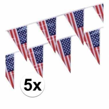 Amerikaanse 5x stuks vlaggenlijnen amerika/usa kopen