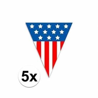 Amerikaanse 5x vlaggenlijn/vlaggetjes amerika/usa 5 meter kopen