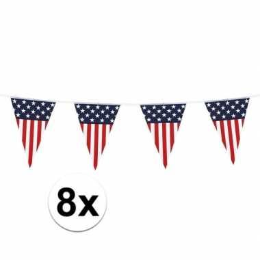 Amerikaanse 8x vlaggenlijn/vlaggetjes amerika/usa 6 meter kopen