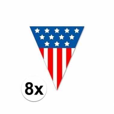 Amerikaanse 8x vlaggenlijn/vlaggetjes usa 5 meter kopen