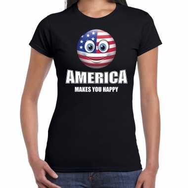 Amerikaanse america makes you happy landen t-shirt amerika zwart voor dames met emoticon kopen