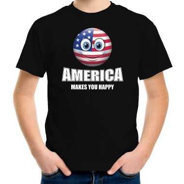 Amerikaanse america makes you happy landen t-shirt amerika zwart voor kinderen met emoticon kopen