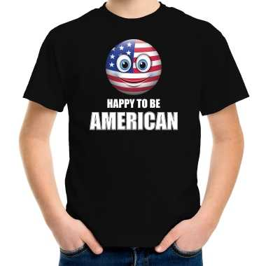 Amerikaanse amerika emoticon happy to be american landen t-shirt zwart kinderen kopen
