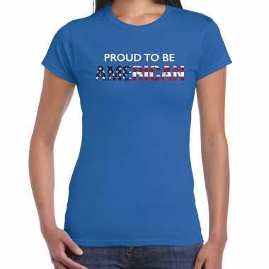 Amerikaanse amerika proud to be american landen t-shirt blauw dames kopen