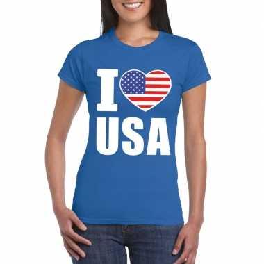 Amerikaanse blauw i love usa - amerika fan shirt dames kopen