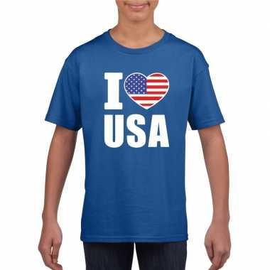 Amerikaanse blauw i love usa - amerika fan shirt kinderen kopen