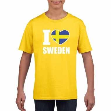 Amerikaanse geel i love zweden fan shirt kinderen kopen