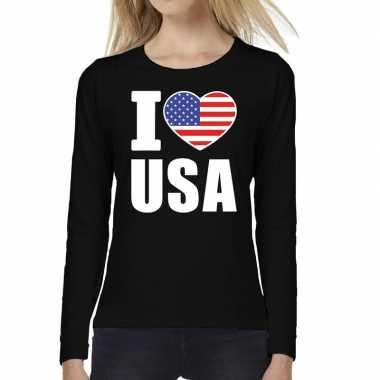 Amerikaanse i love usa long sleeve t-shirt zwart voor dames kopen