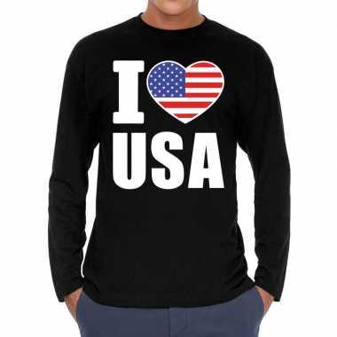 Amerikaanse i love usa long sleeve t-shirt zwart voor heren kopen