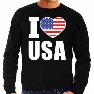 Amerikaanse i love usa sweater / trui zwart voor heren kopen