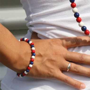 Amerikaanse kralen armband rood wit blauw kopen