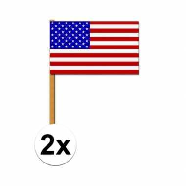 Amerikaanse luxe zwaaivlag amerika 2 stuks kopen
