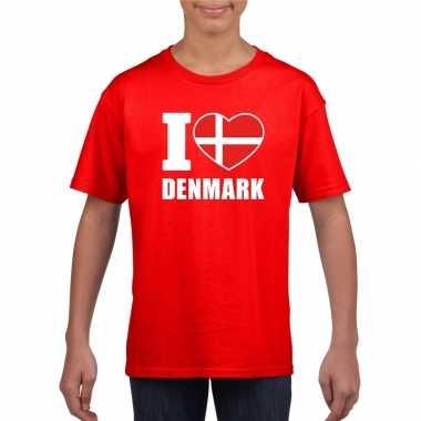 Amerikaanse rood i love denemarken fan shirt kinderen kopen