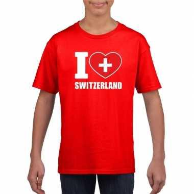 Amerikaanse rood i love zwitserland fan shirt kinderen kopen