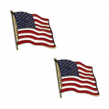 Amerikaanse set van 2x stuks broches/speldjes pin vlag usa/amerika kopen