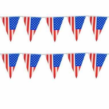 Amerikaanse set van 2x stuks vlaggenlijn usa/amerika 10 meter kopen