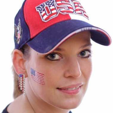 Amerikaanse set van 4x stuks landen vlag tattoo amerika 2,6 x 4,5 cm kopen