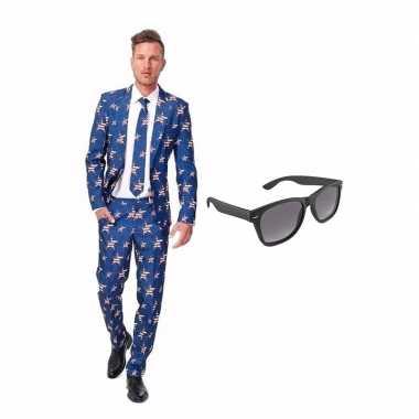 Amerikaanse vlag heren kostuum maat 52 (xl) met gratis zonnebri kope