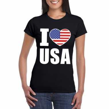 Amerikaanse zwart i love usa - amerika fan shirt dames kopen