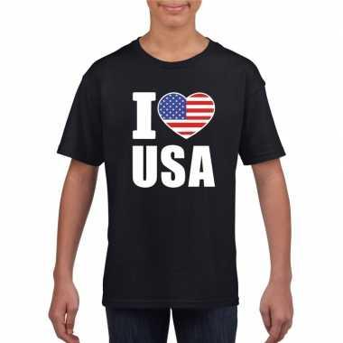 Amerikaanse zwart i love usa - amerika fan shirt kinderen kopen