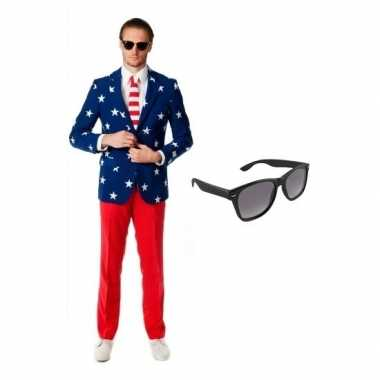 Heren kostuum met amerikaanse vlag print maat 52 (xl) met gratis kop
