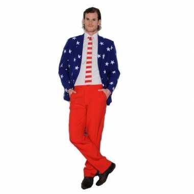 Luxe heren pak met Amerikaanse vlag print kopen