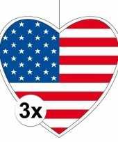 Amerikaanse 3x amerika hangdecoratie harten 28 cm kopen